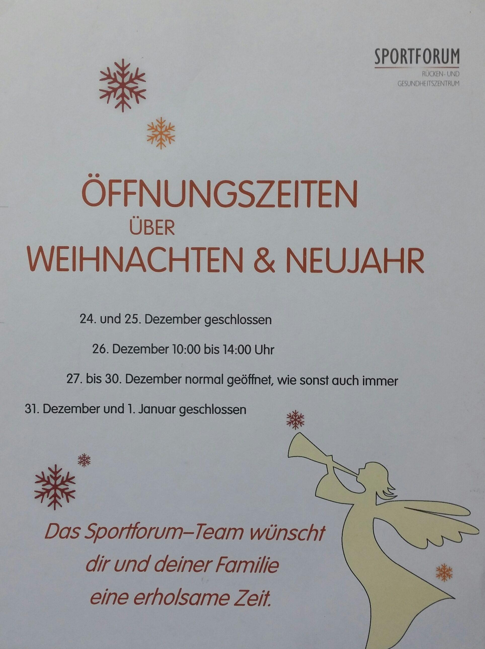 Ist Weihnachten Am 24 Oder 25.öffnungszeiten über Weihnachten Und Silvester Sportforum Fürth